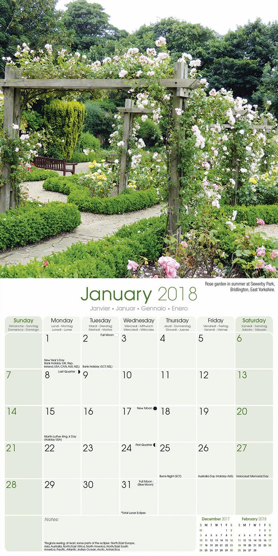 English gardens calendar 2018 30233 18 garden calendars for Gardening wall planner