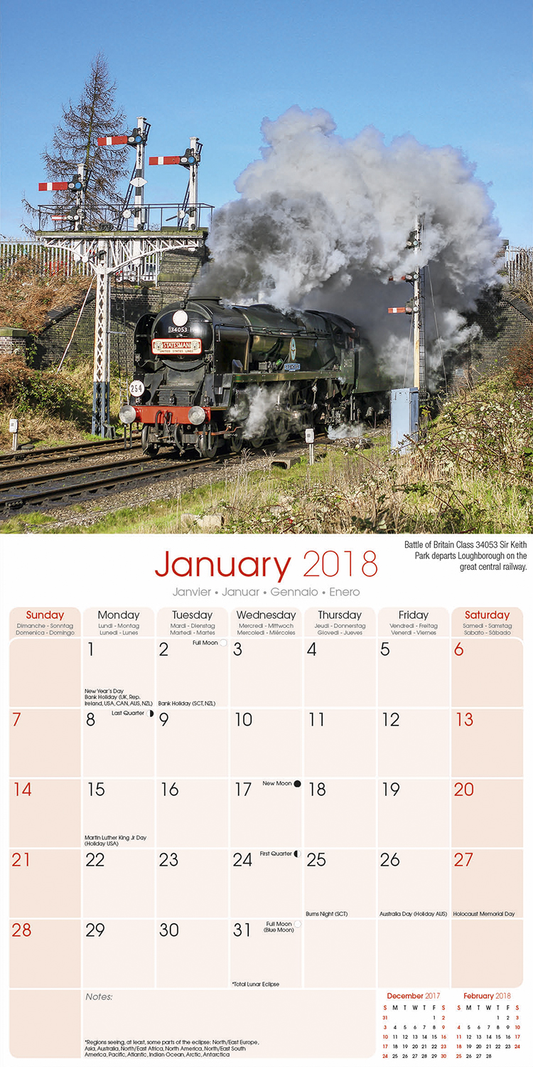 Steam Trains - 2018 Wall Calendar 16 month Premium Square 30x30cm (O)