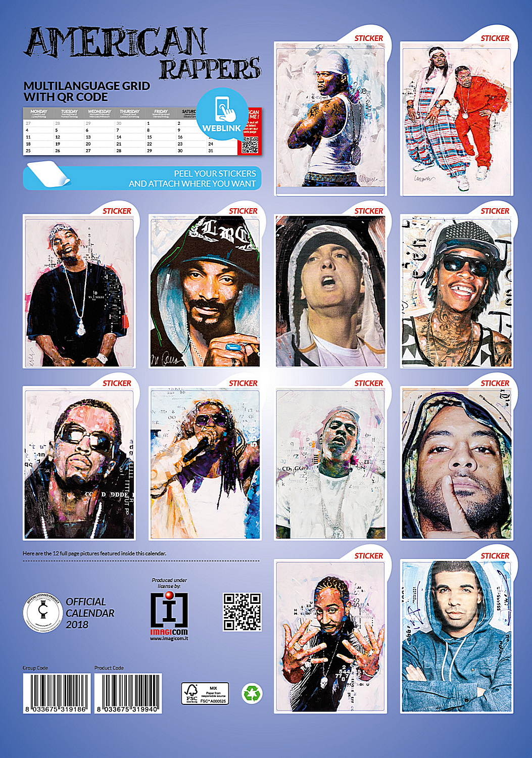 American Rappers Celebrity Wall Calendar 2018 back 8033675319940