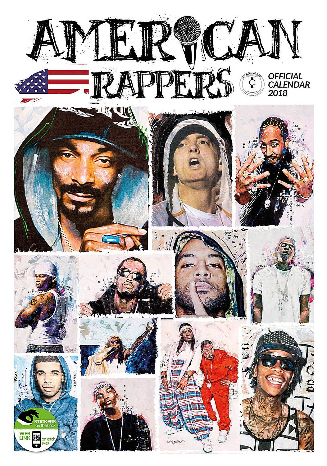American Rappers Celebrity Wall Calendar 2018 8033675319940