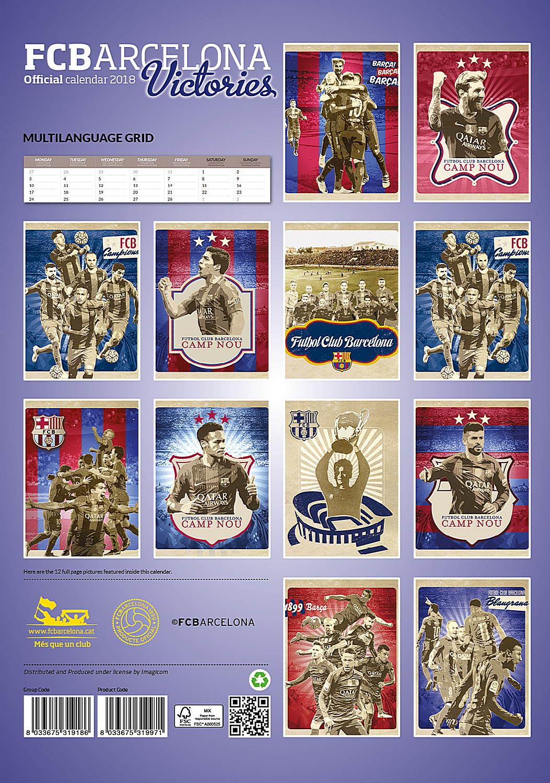 Barcelona Fc Victories Celebrity Wall Calendar 2018 back 8033675319971