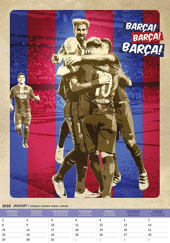 Barcelona Fc Victories Celebrity Wall Calendar 2018 inside 8033675319971