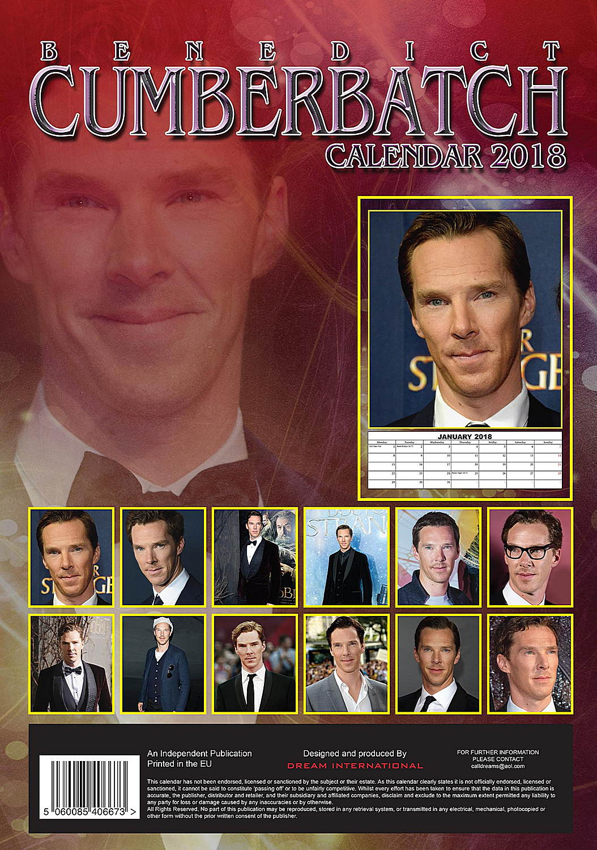 Benedict Cumberbatch Celebrity Wall Calendar 2018 back 5060085406673