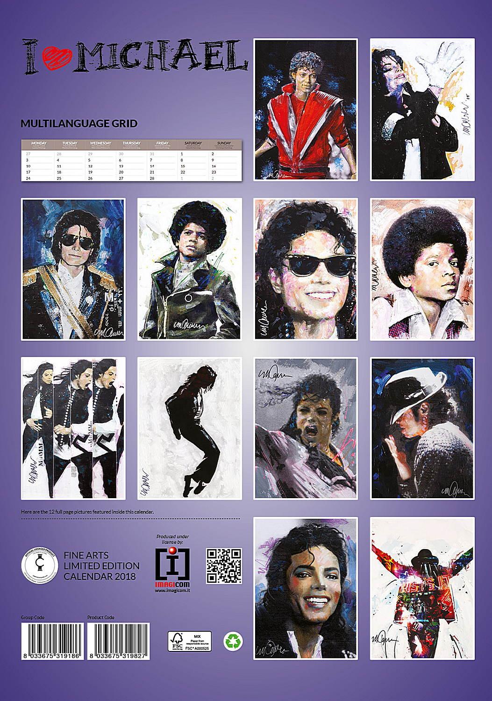 Michael Jackson Celebrity Wall Calendar 2018 back 8033675319827