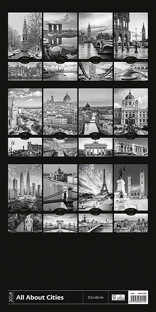 All About Cities Wall Calendar 2018 by Helma back 8595230645722