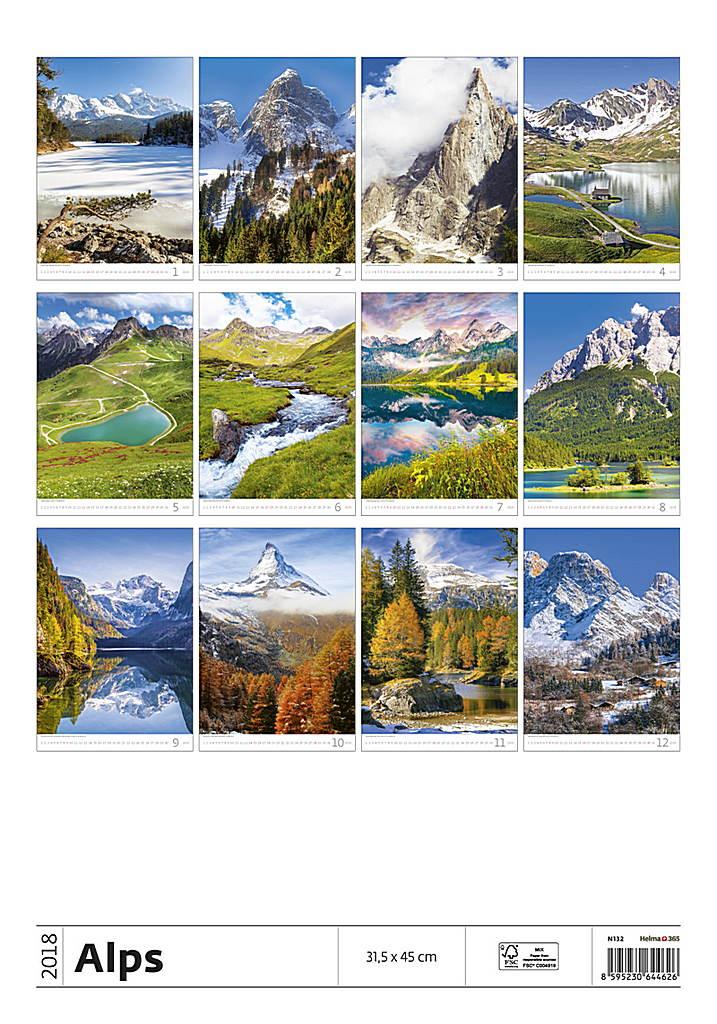 Alps Wall Calendar 2018 by Helma back 8595230644626
