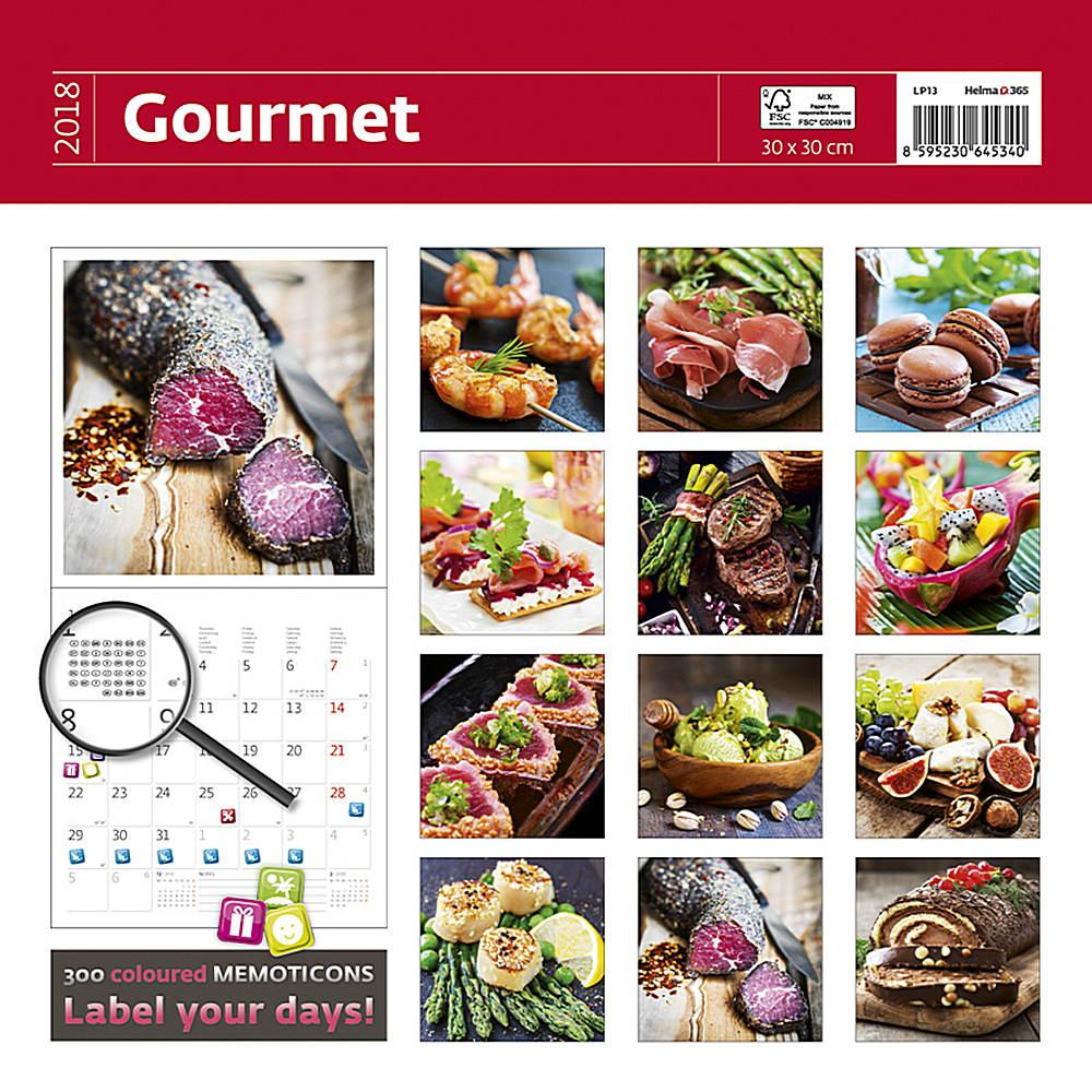 Gourmet Wall Calendar 2018 by Helma back 8595230645463