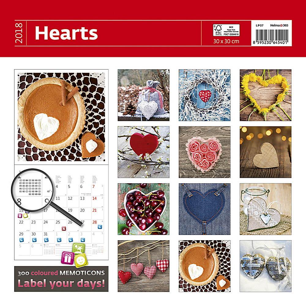 Hearts Wall Calendar 2018 by Helma back 8595230645401