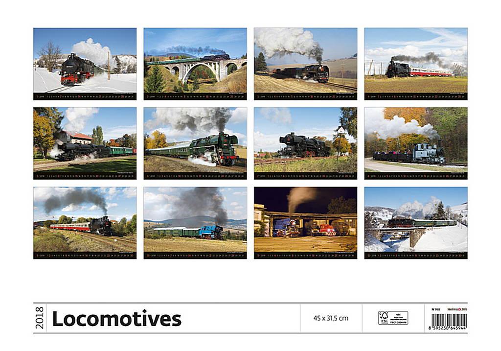 Locomotives Wall Calendar 2018 by Helma back 8595230645944