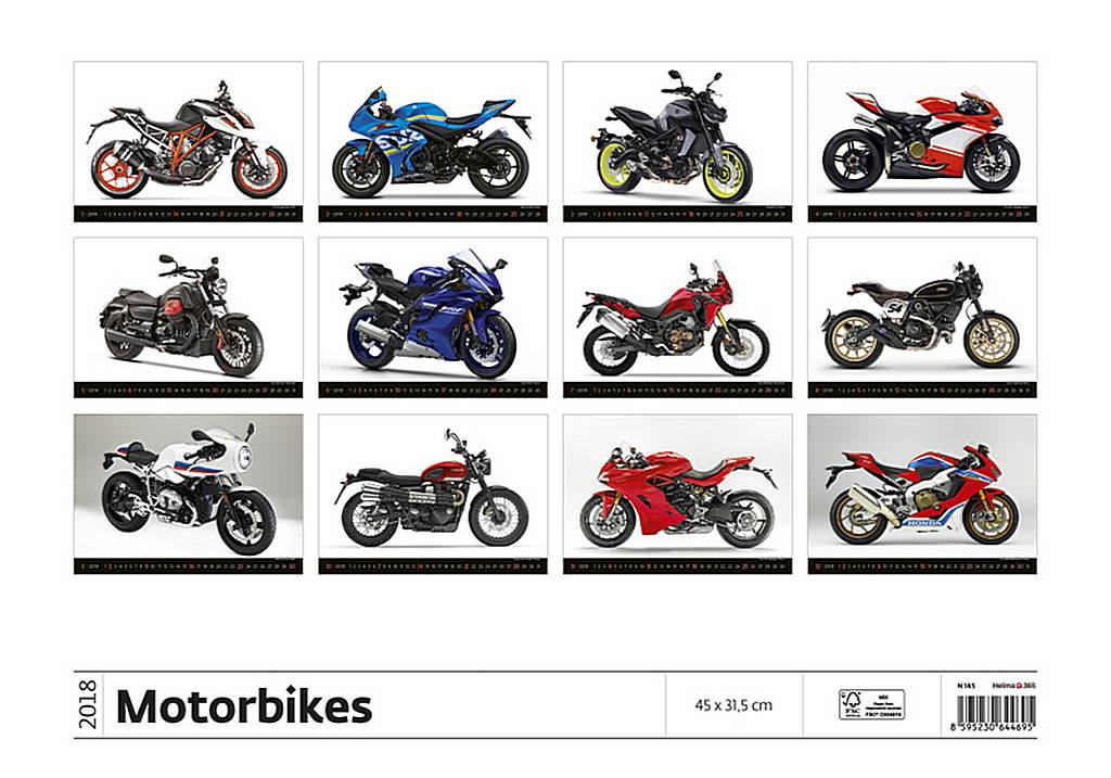 Motorbikes Wall Calendar 2018 by Helma back 8595230644695