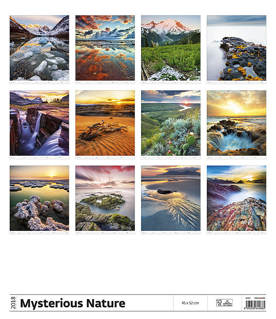 Mysterious Nature Wall Calendar 2018 by Helma back 8595230645883