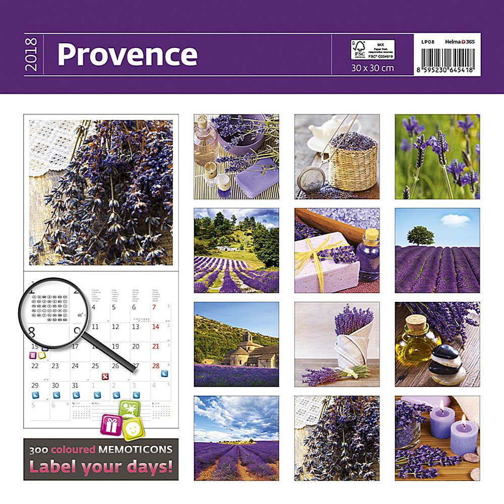 Provence - 2018 Wall Calendar 16 month Premium Square 30x30cm (G)