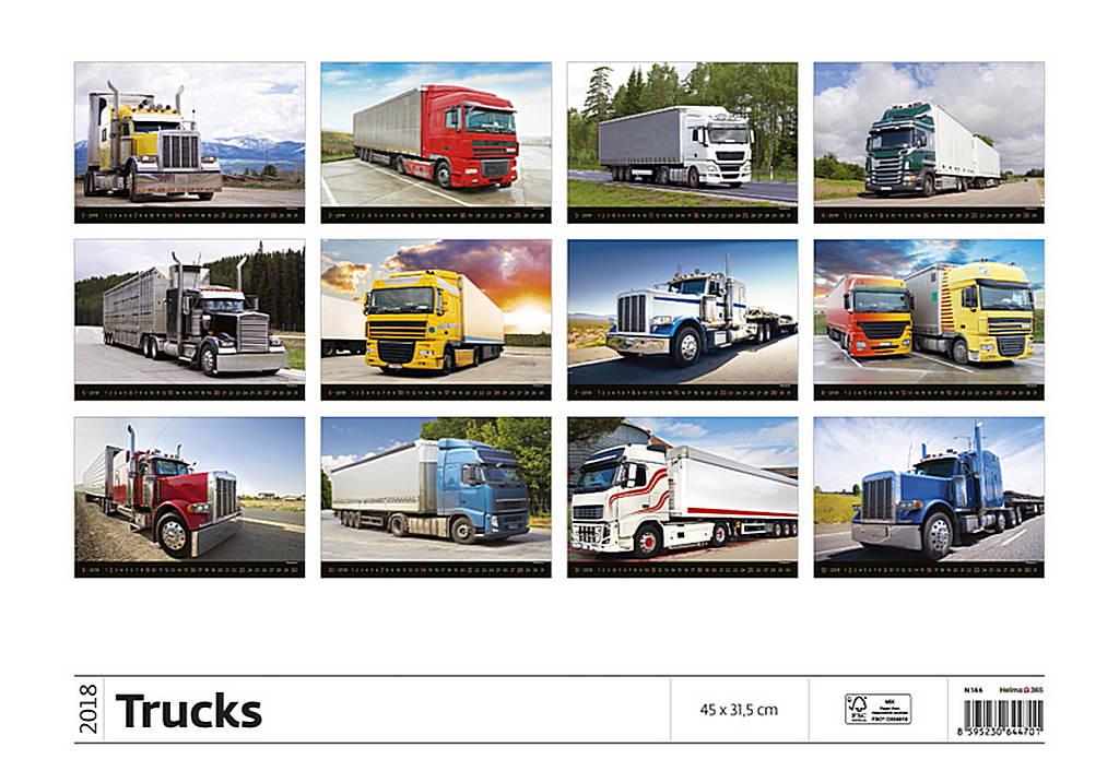 Trucks Wall Calendar 2018 by Helma back 8595230644701