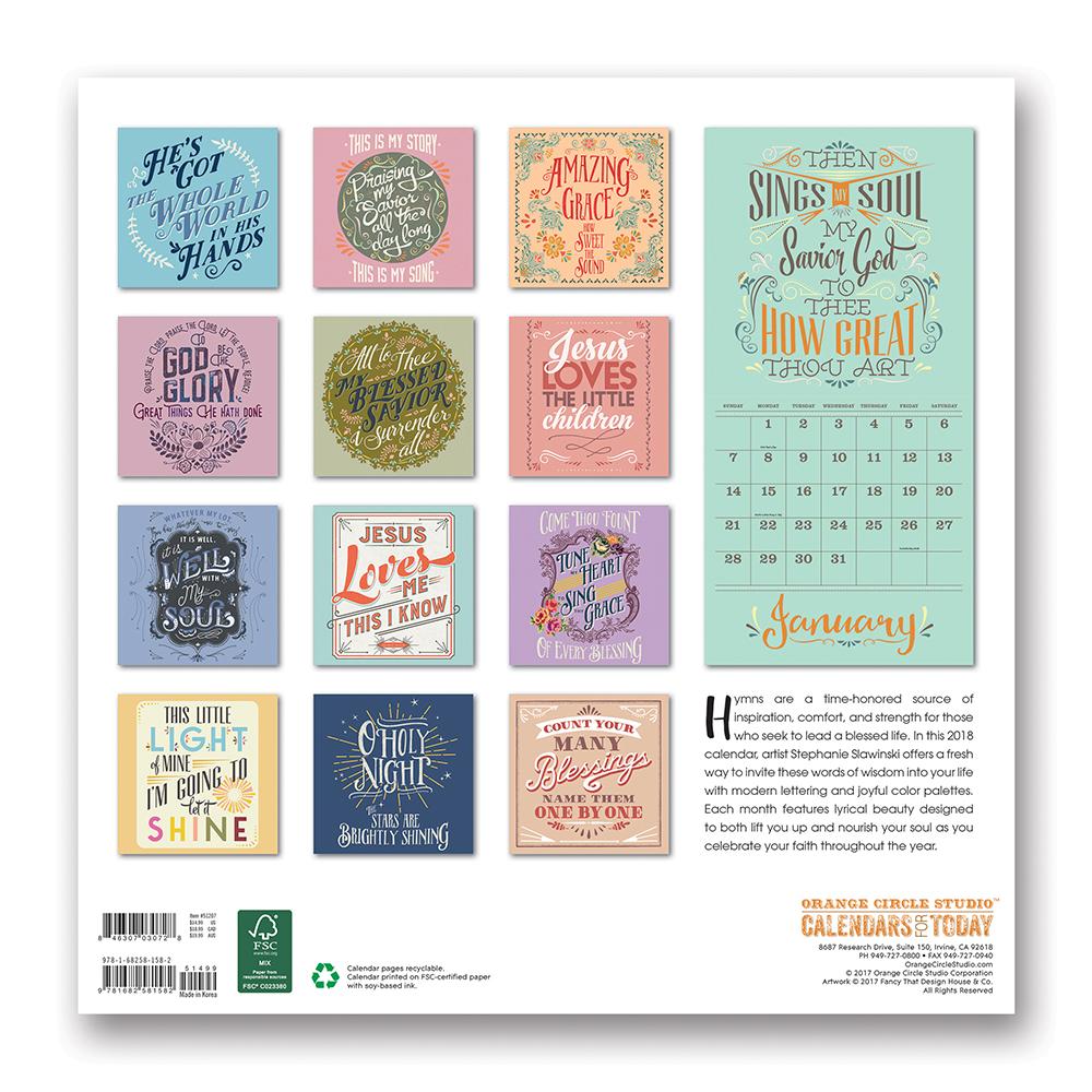 Amazing Grace Thirteen Inspirational Hymns 2018 by Orange Circle Studio back 9781682581582