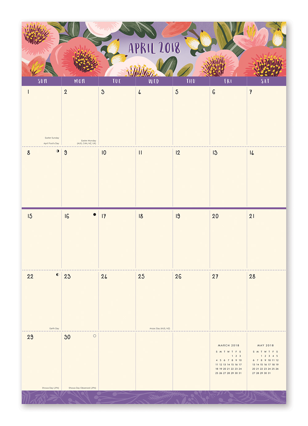 Bold Blossoms Do it All Wall Calendar 2018 by Orange Circle Studio inside 9781682581858