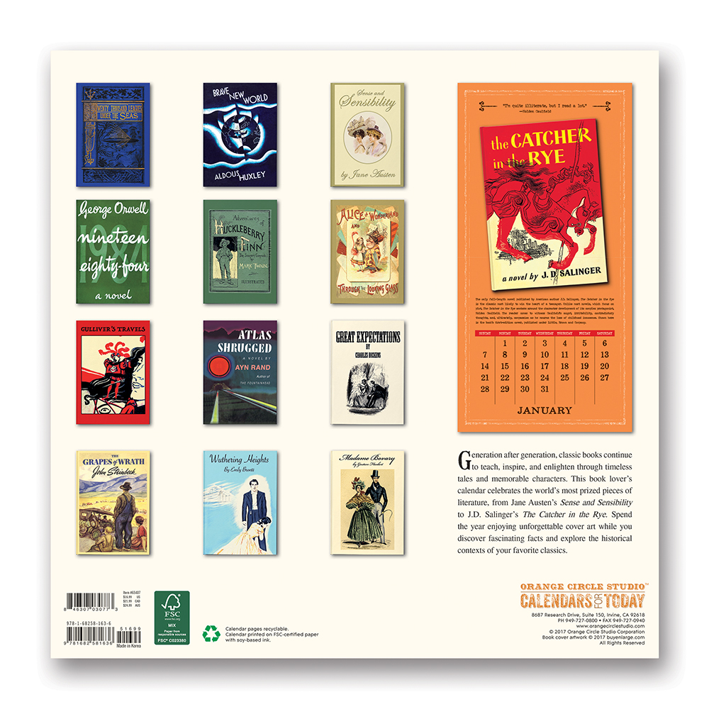Book Lovers Album Calendar 2018 by Orange Circle Studio back 9781682581636