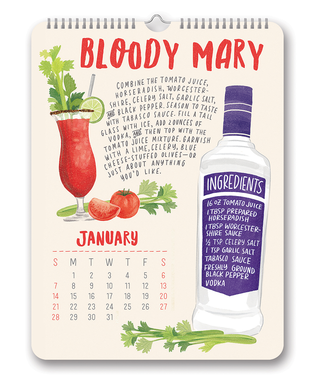 Cocktails Poster Calendar 2018 by Orange Circle Studio inside 9781682581742