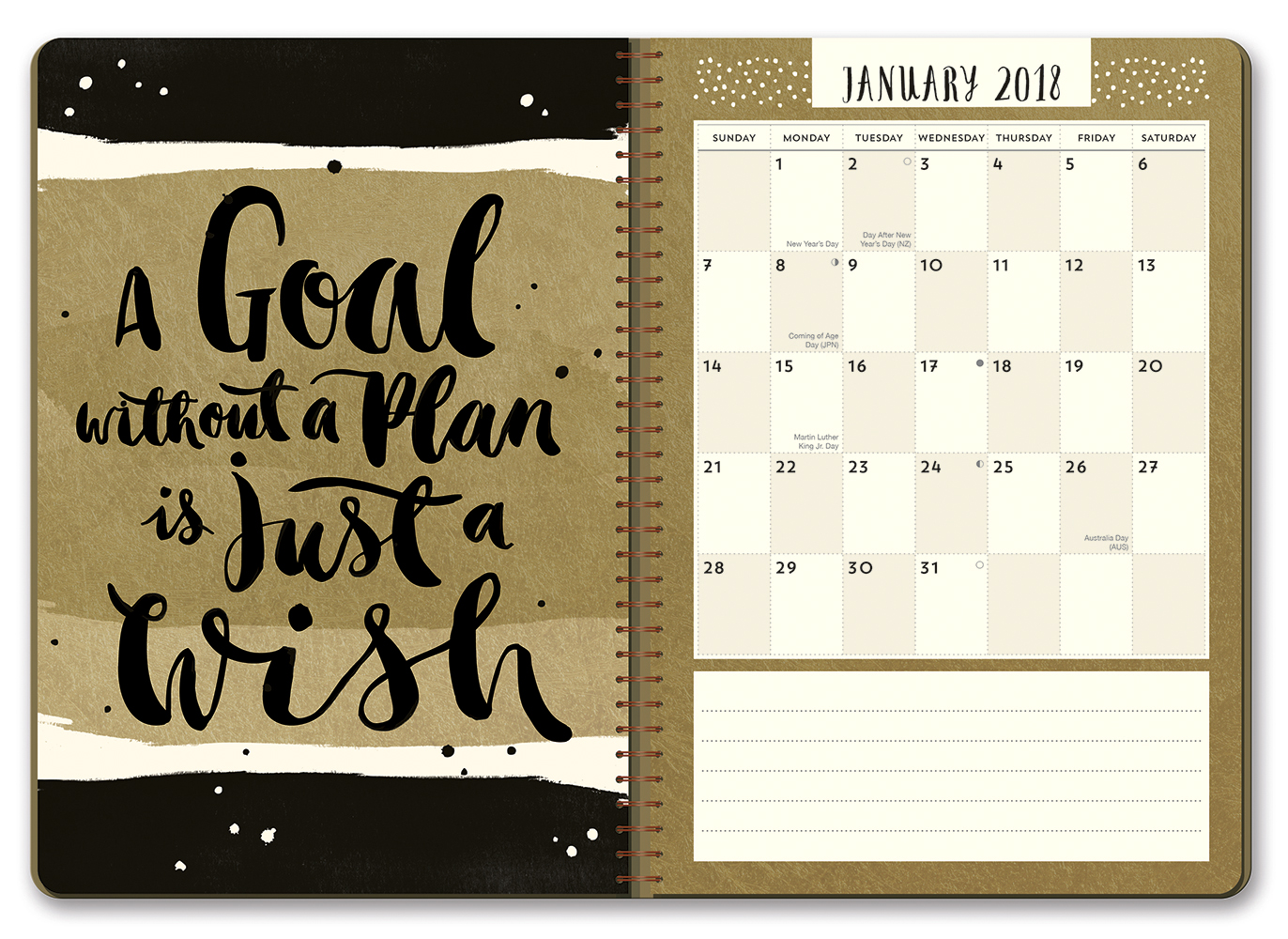 Gold Foil Glamour On-Time Weekly Planner 2018 by Orange Circle Studio back 9781682582282