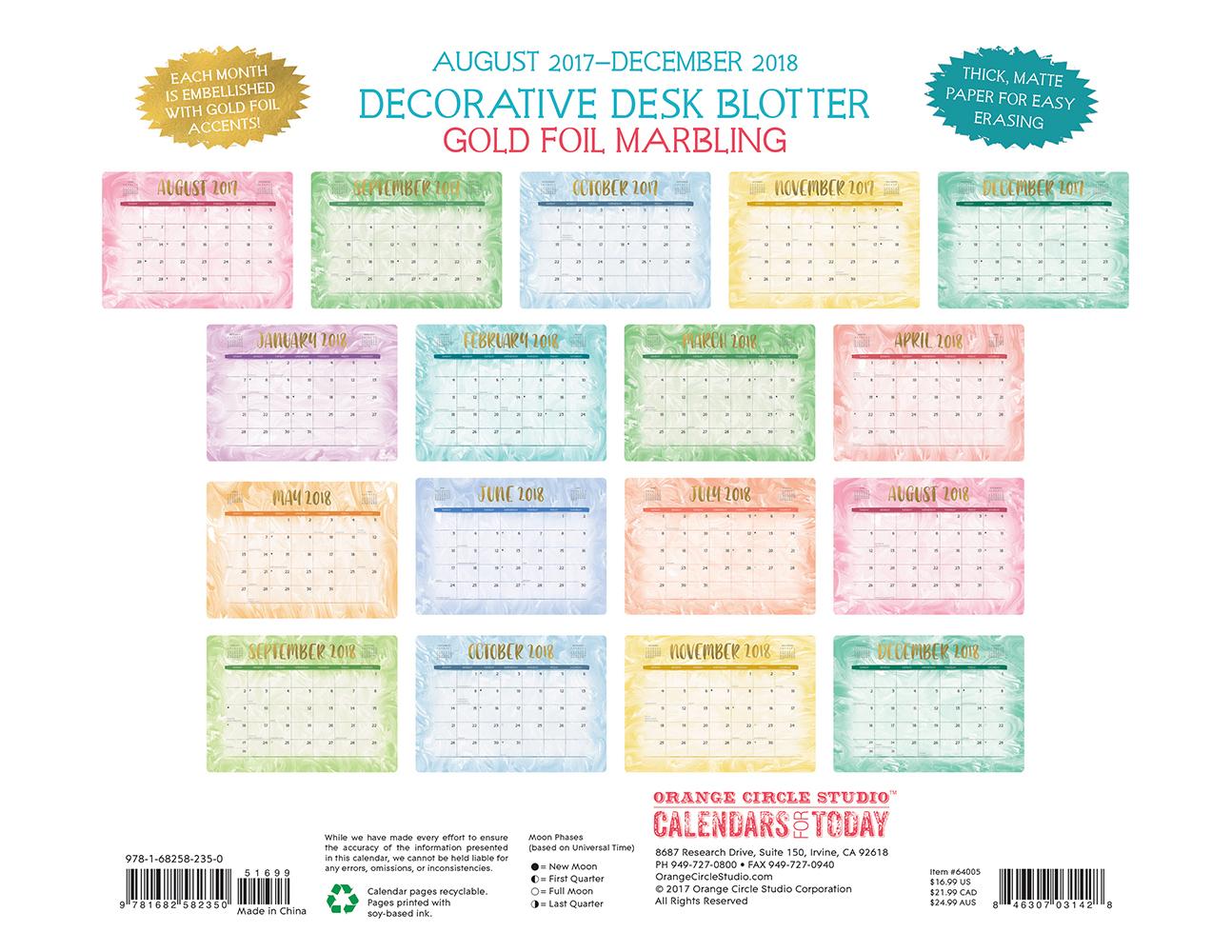 Gold Foil Marbling Decorative Desk Calendars 2018 by Orange Circle Studio back 9781682582350