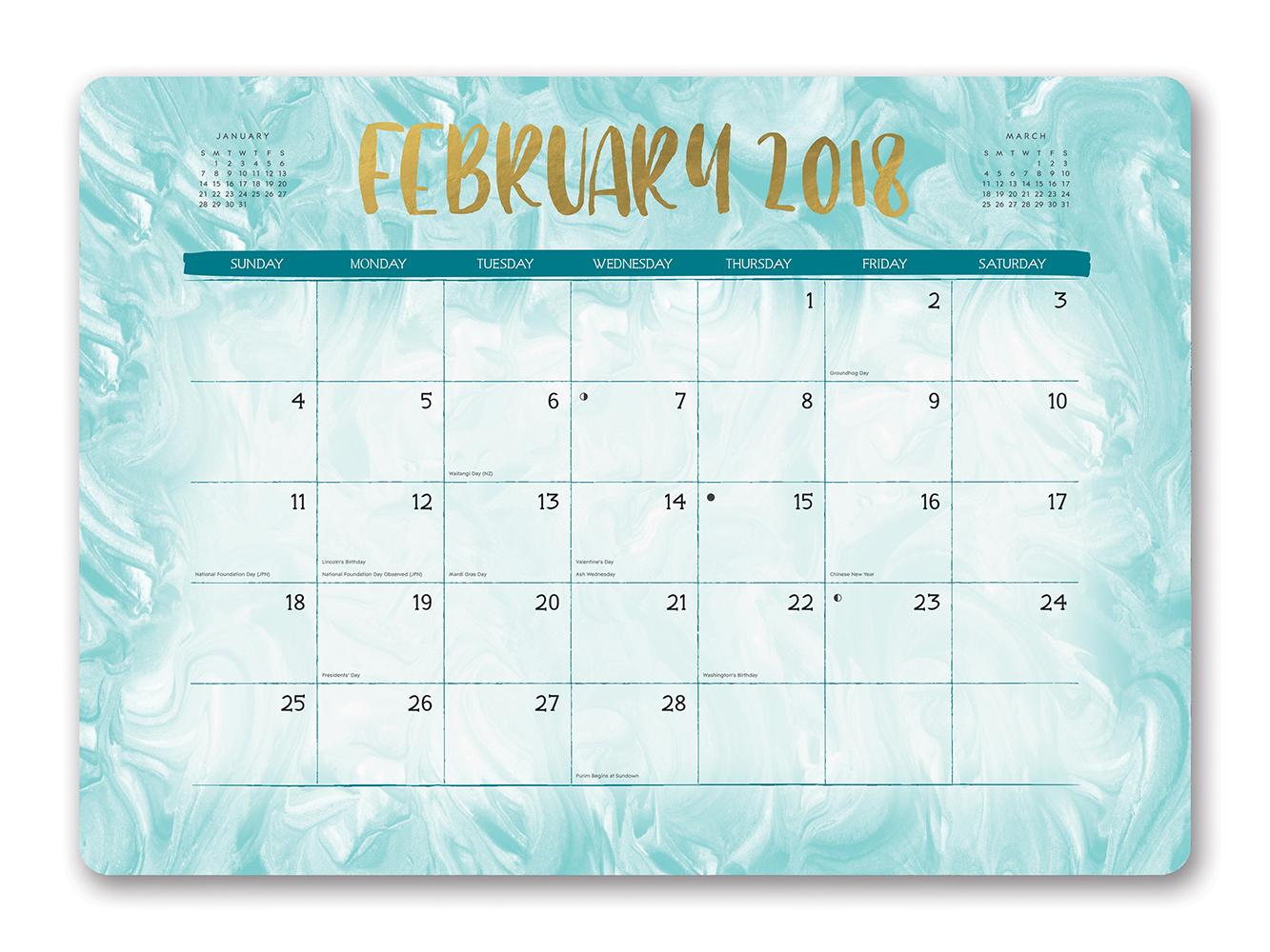 Gold Foil Marbling Decorative Desk Calendars 2018 by Orange Circle Studio inside 9781682582350
