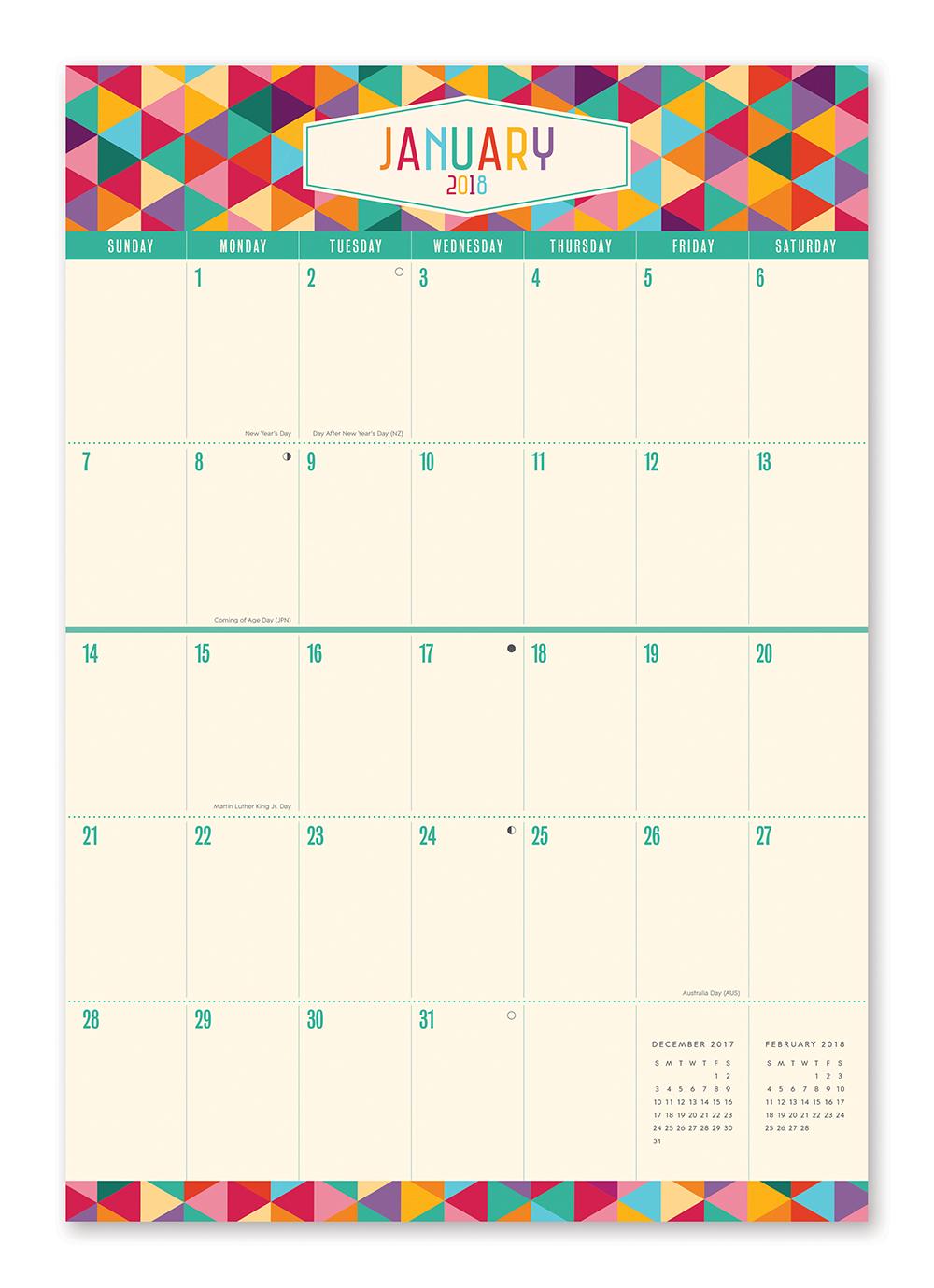 Kaleidoscope Do it All Wall Calendar 2018 by Orange Circle Studio inside 9781682581865