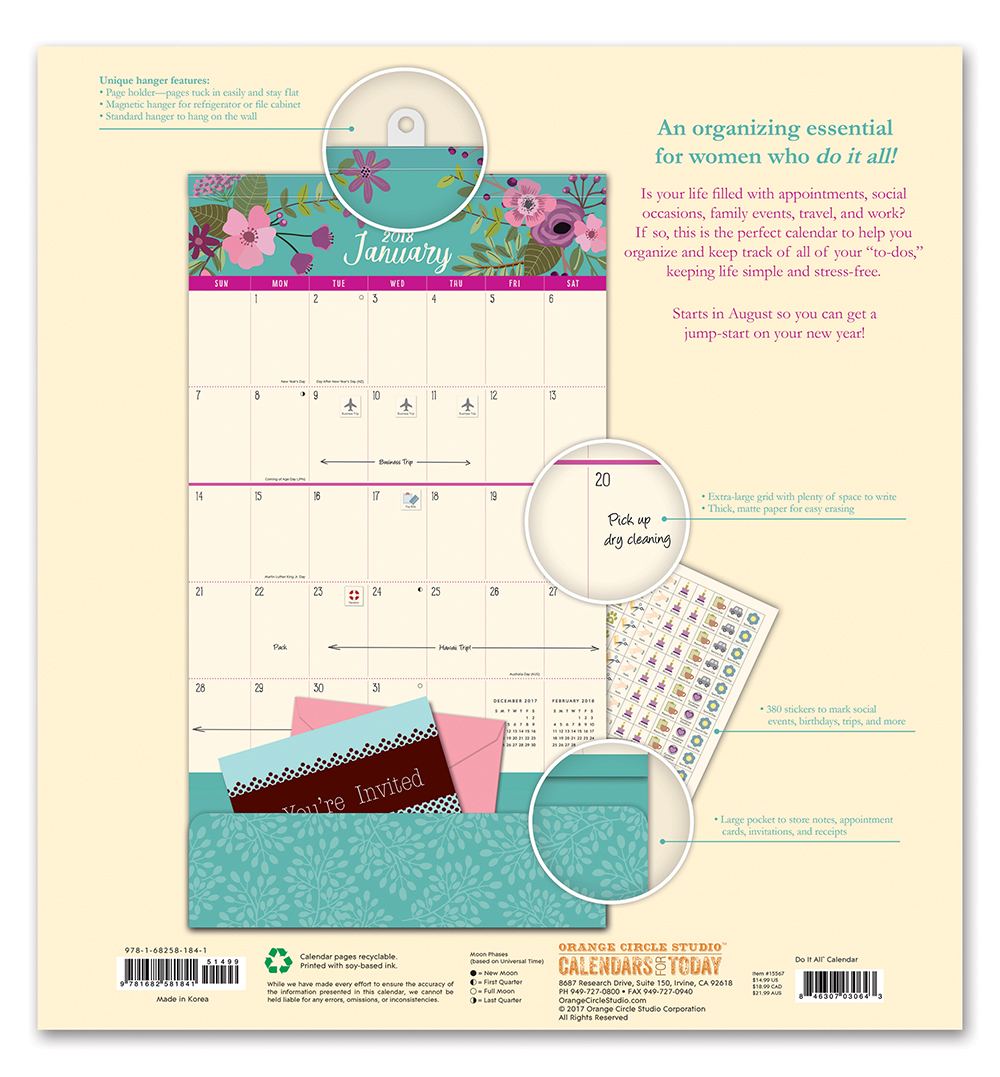 Secret Garden Do it All Wall Calendar 2018 by Orange Circle Studio back 9781682581841