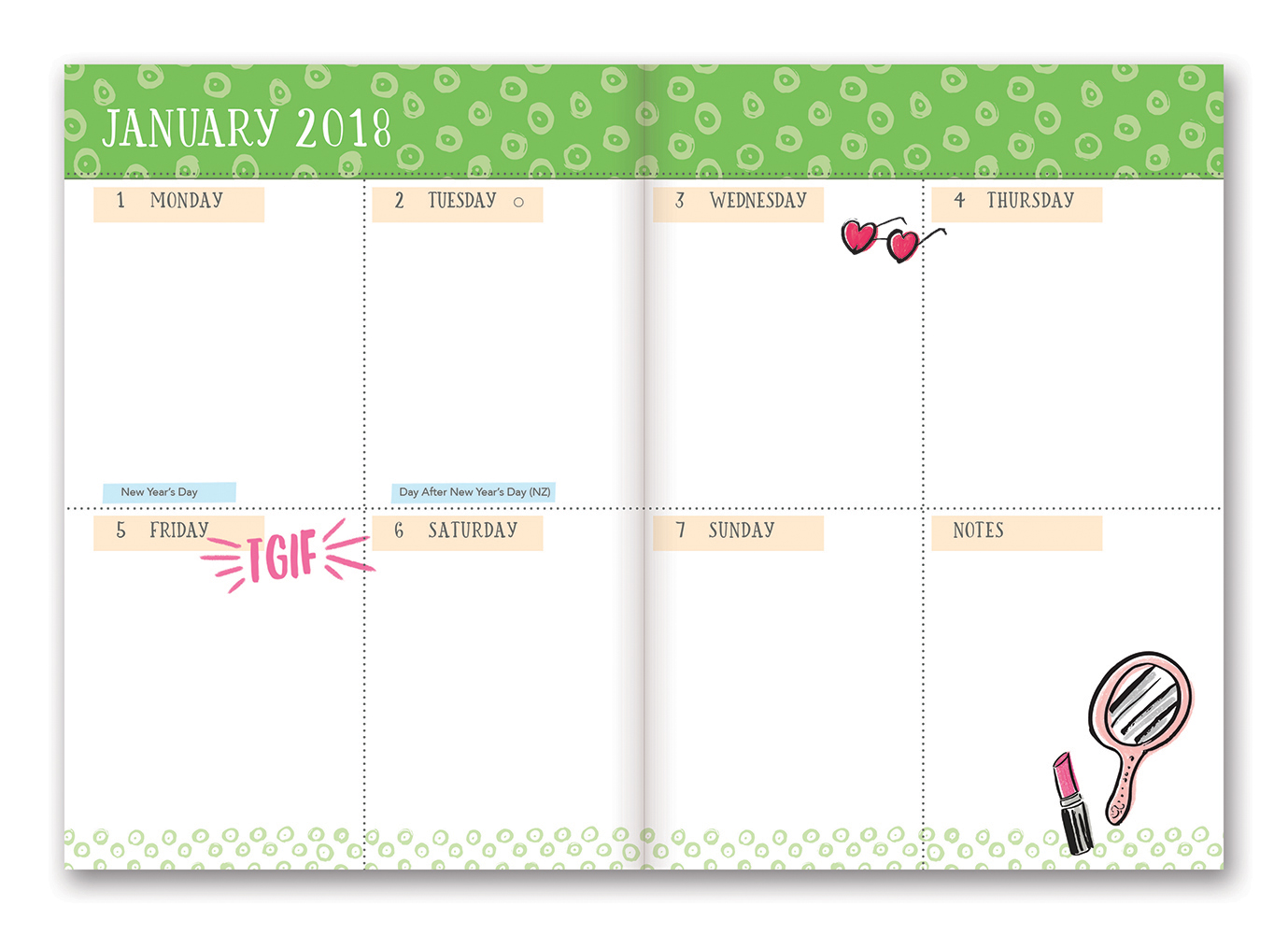 Today Is Going to Be Awesome Take Me With You Planner 2018 by Orange Circle Studio back 9781682582237