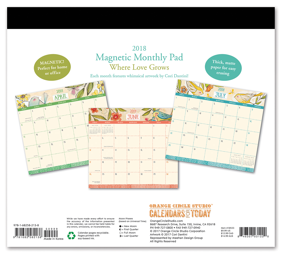 Where Love Grows Magnetic Monthly Pad 2018 by Orange Circle Studio back 9781682582138