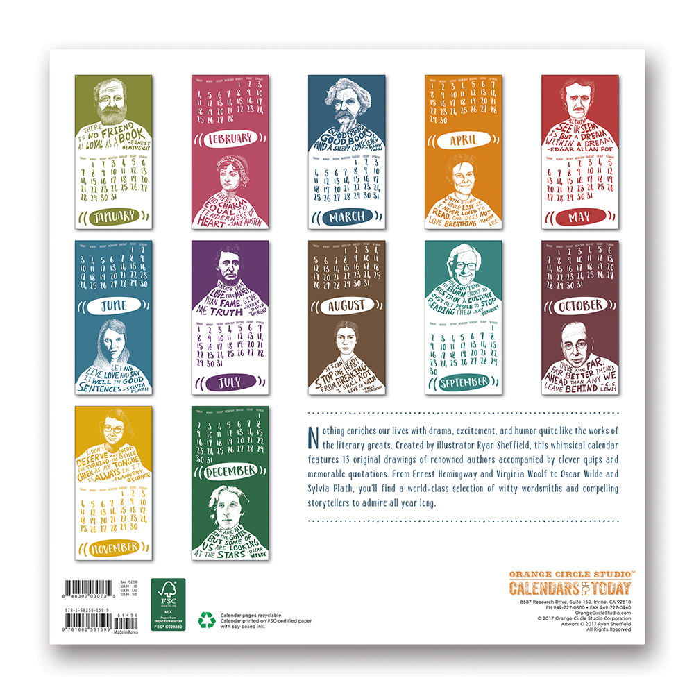 Wit and Wisdom from Famous Authors Wall Calendar 2018 by Orange Circle Studio back 9781682581599