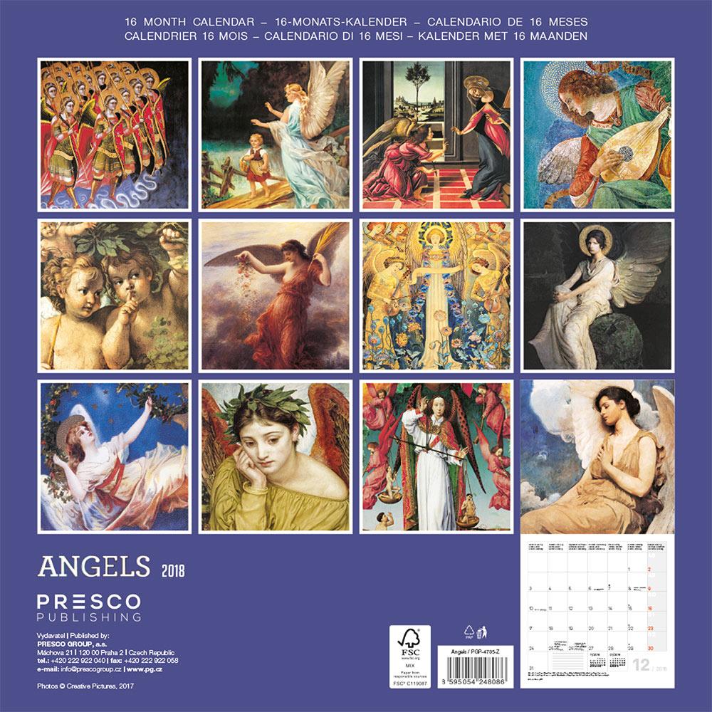 Angels Calendar 2018 by Presco Group back 8595054248086