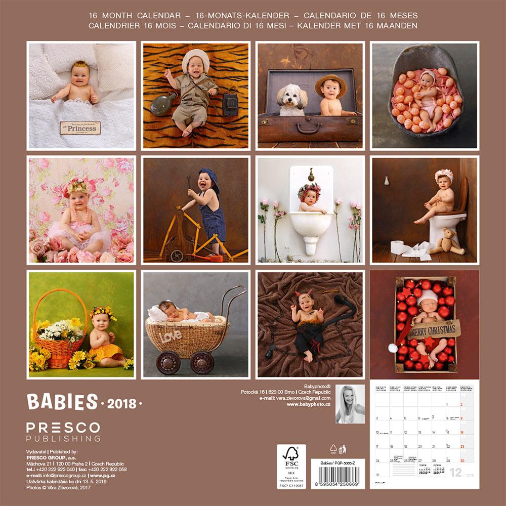 Babies Calendar 2018 by Presco Group back 8595054250669