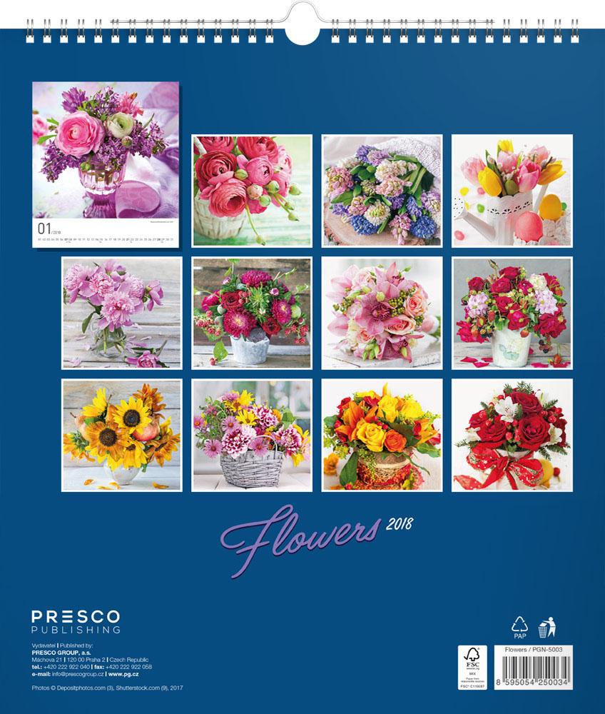 Flowers Calendar 2018 by Presco Group back 8595054250034