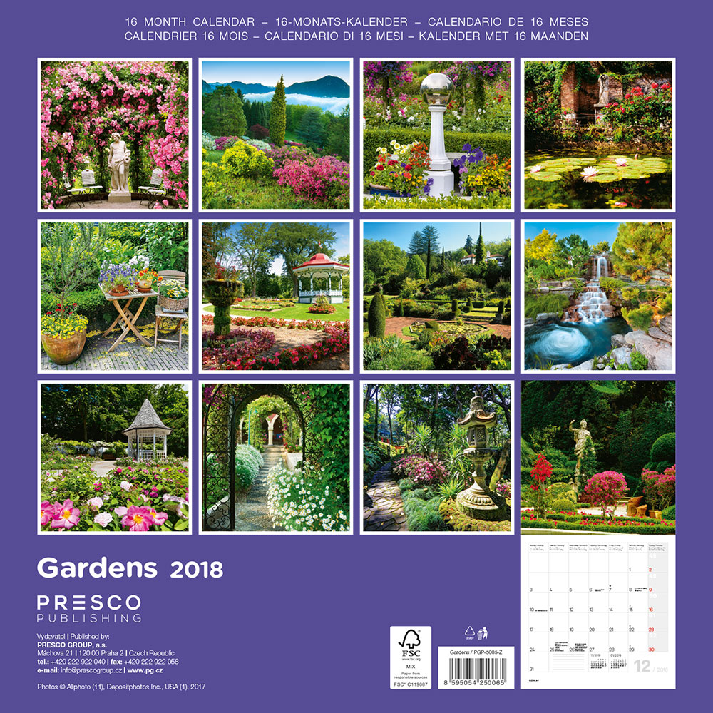 Gardens Calendar 2018 by Presco Group back 8595054250065