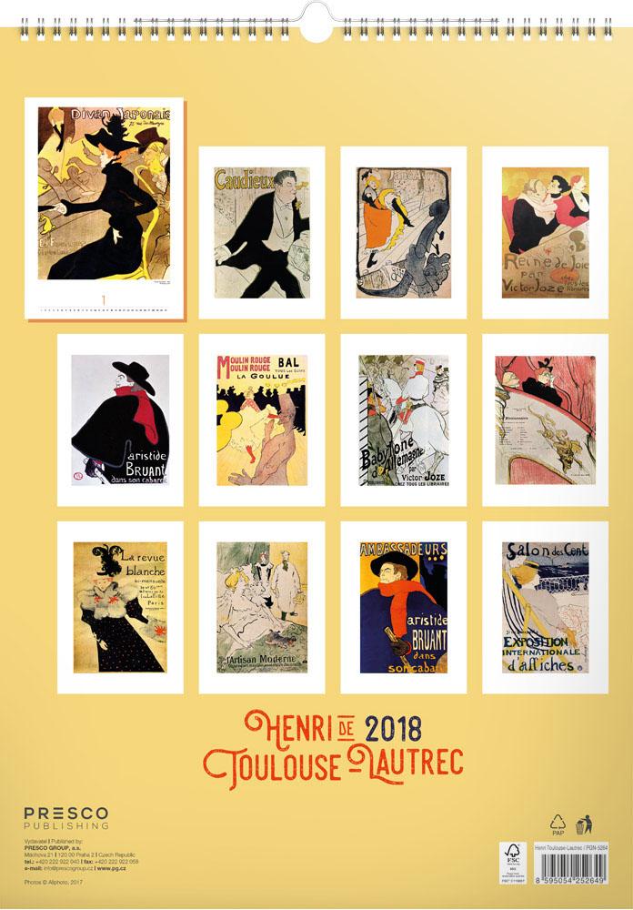 Henri de Toulouse-Lautrec Calendar 2018 by Presco Group back 8595054252649
