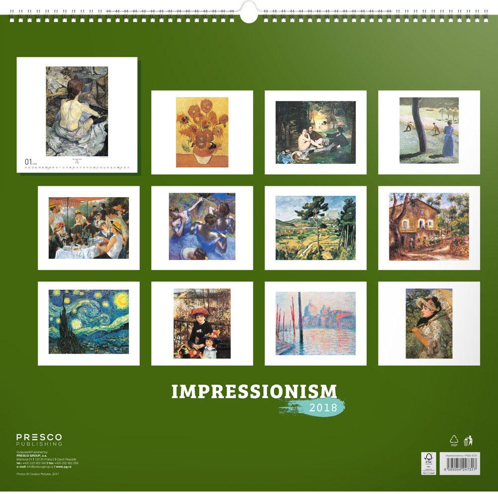 Impressionism Calendar 2018 by Presco Group back 8595054247317