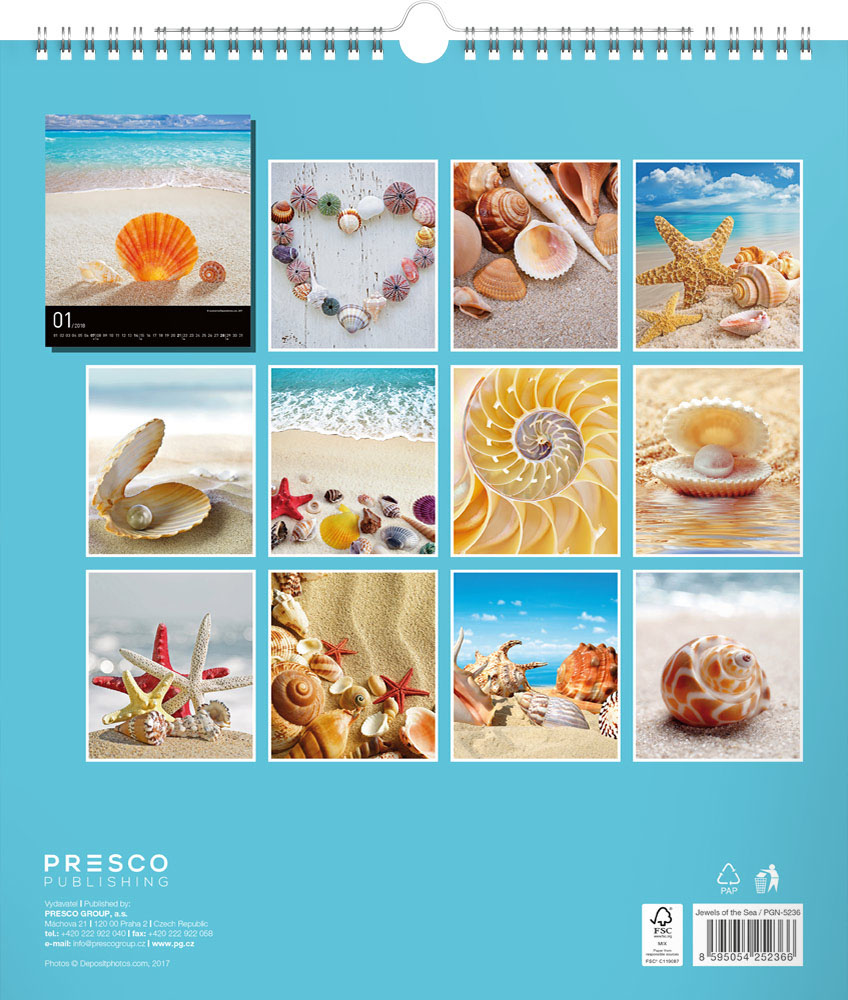 Jewels of the Sea Calendar 2018 by Presco Group back 8595054252366