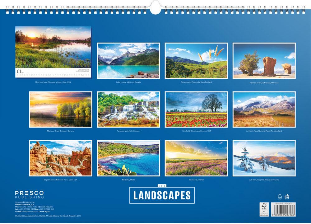 Landscapes Calendar 2018 by Presco Group back 8595054247133