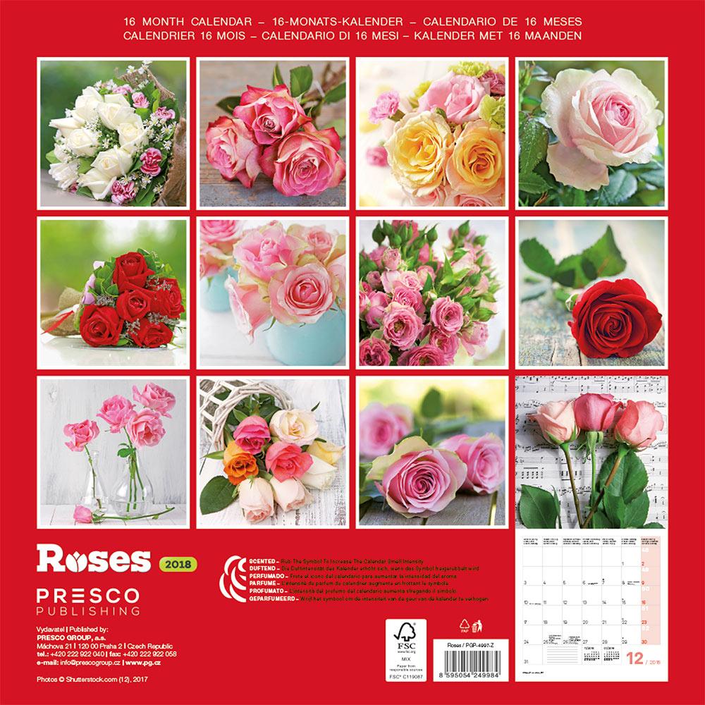Roses Calendar 2018 by Presco Group back 8595054249984