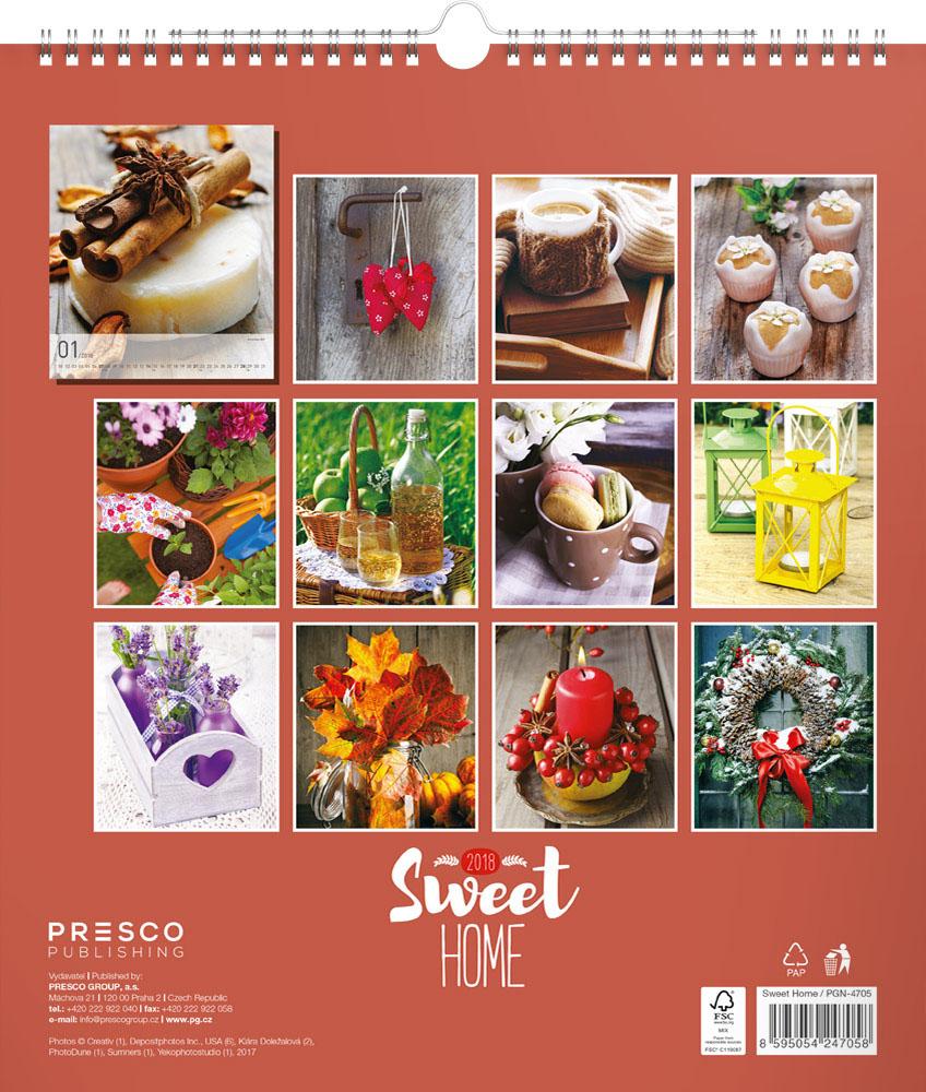 Sweet Home Calendar 2018 by Presco Group back 8595054247058