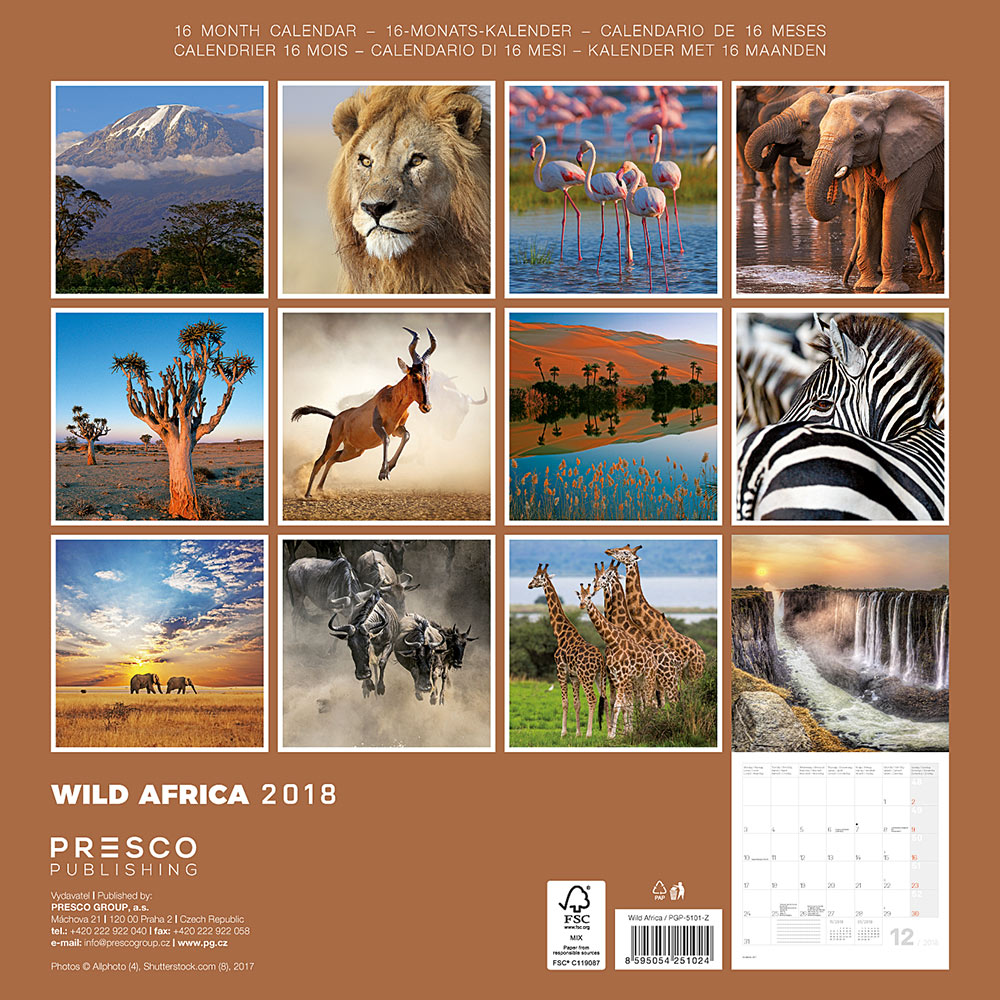 Wild Africa Calendar 2018 by Presco Group back 8595054251024
