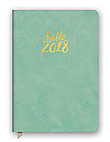 Hello Sea Green Leatheresque Medium Weekly Agenda 2018 by Orange Circle Studio